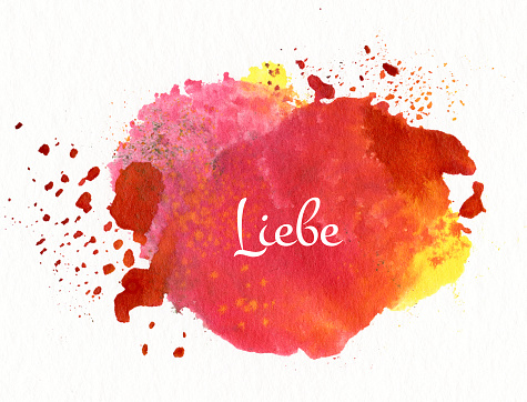 love in german language, illustration: watercolor on paper