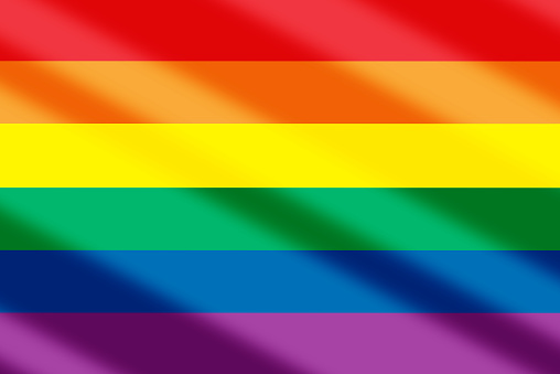 LGBT love is love on rainbow abstract background