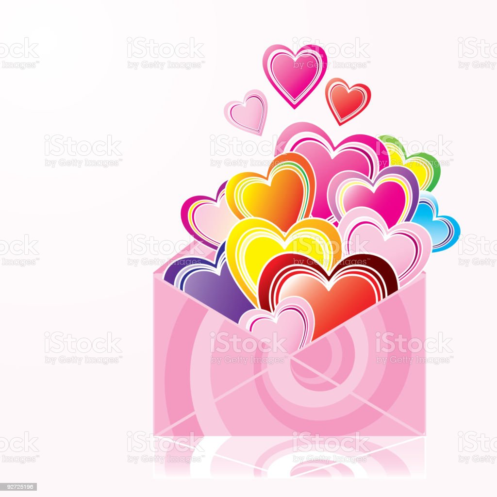 Love letter - Hearts in the envelope vector art illustration