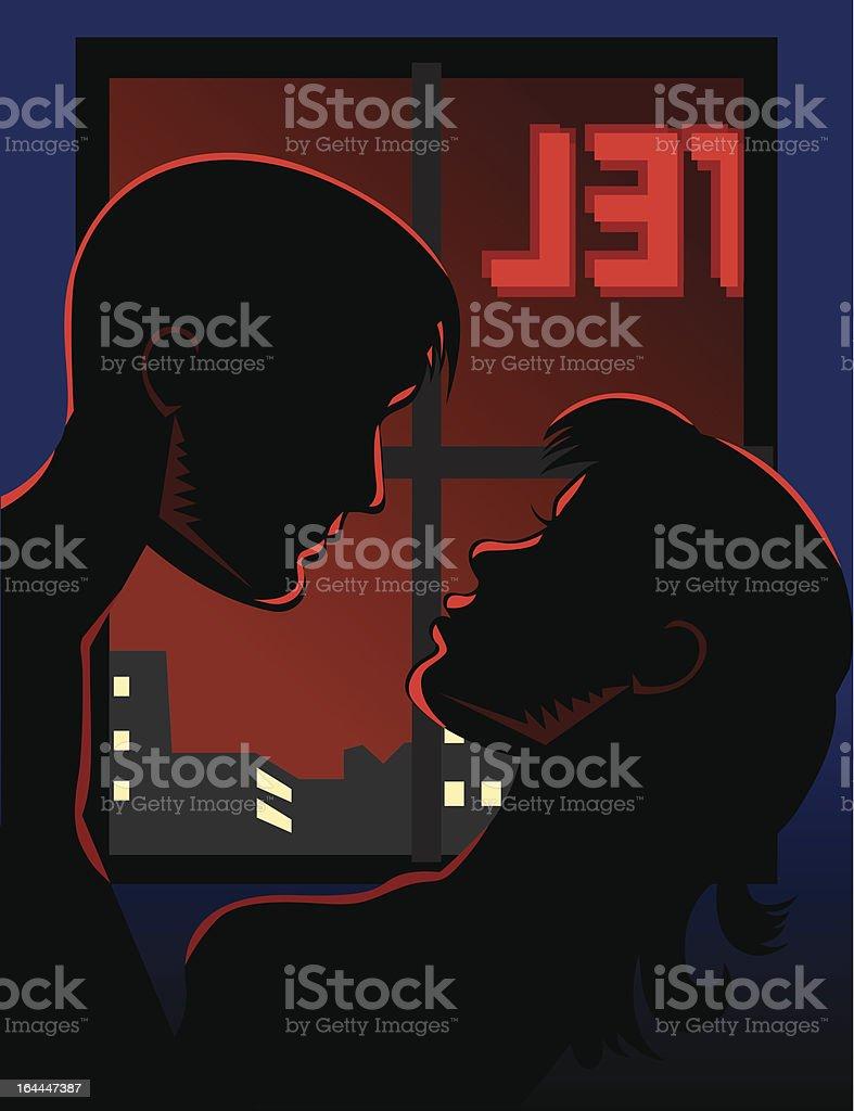 love making at hotel vector art illustration