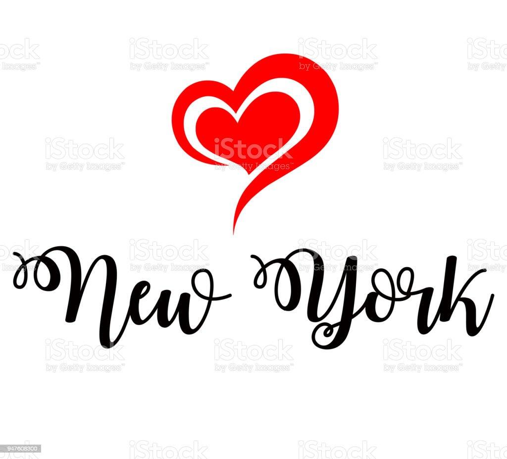 Love New York Handwritting Illustration Stock Vector Art More