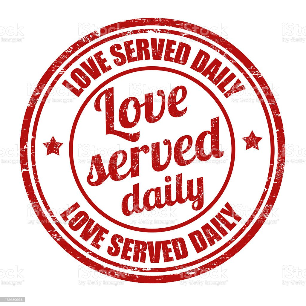 Love served daily stamp royalty-free stock vector art