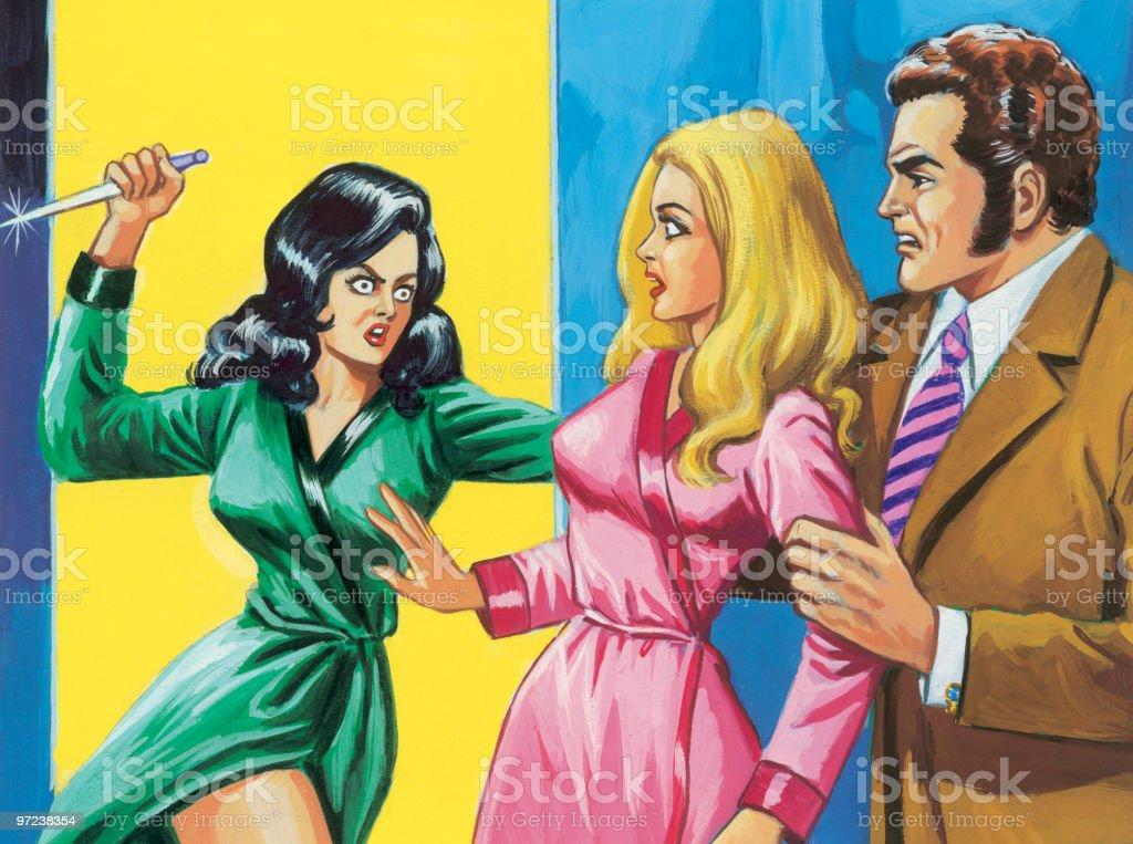 Love Triangle Attack vector art illustration
