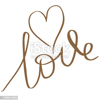 istock Love with heart postcard. Phrase for Valentine's Day. gold Ink illustration. Contemporary calligraphy. Isolated 1296845363