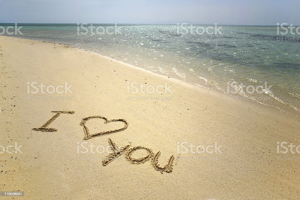 I love you in sand royalty-free stock vector art