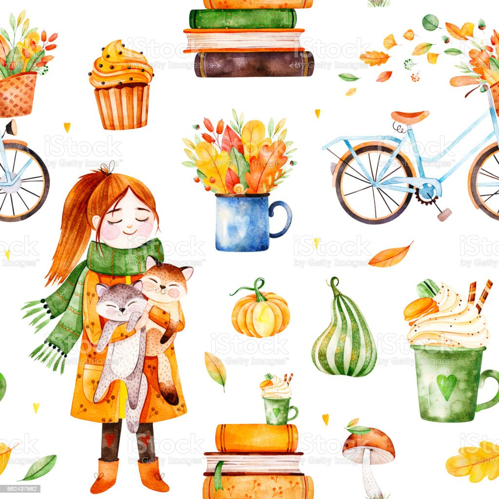 Lovely Autumn seamless pattern with a bicycle,fall leaves,bouquets vector art illustration