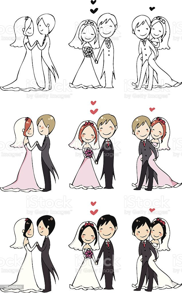 lovely bride and groom vector art illustration