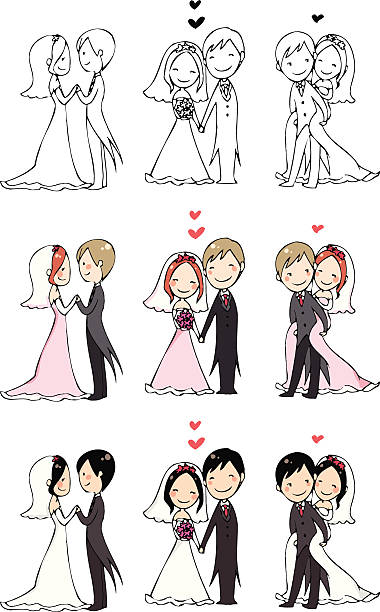 lovely bride and groom lovely bride and groom with 3 actions and 3 color modes. bridegroom stock illustrations
