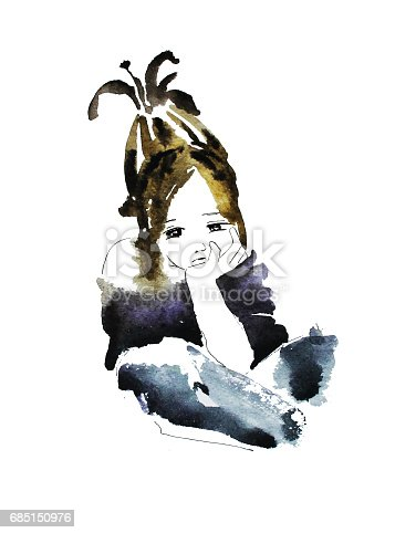 Lovely little girl, hand drawn watercolor illustration
