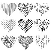 Lovely set of  heart icons. Creative hand drawn wavy, spiral, line, net, grid based elements for decoration on Valentines Day. Graphic love icons, symbols. Heart outline. Shape for printing