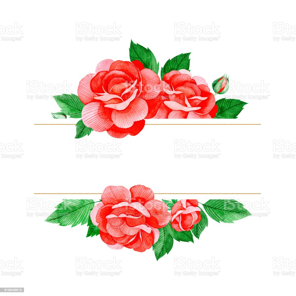 Lovely Watercolor Frame Border With Red Roses Flowersbuds And Leaves ...