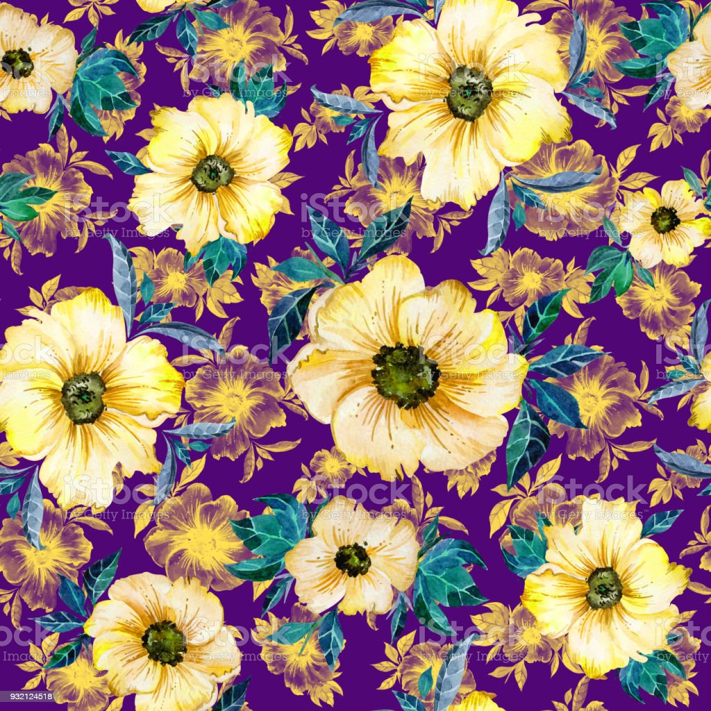 Lovely Yellow Flowers With Green Leaves And Their Outlines On Purple