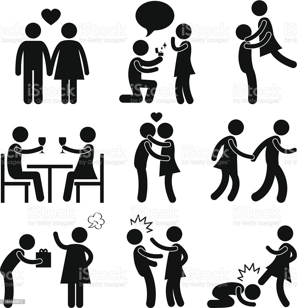 Lover Couple Love Proposal Pictogram vector art illustration