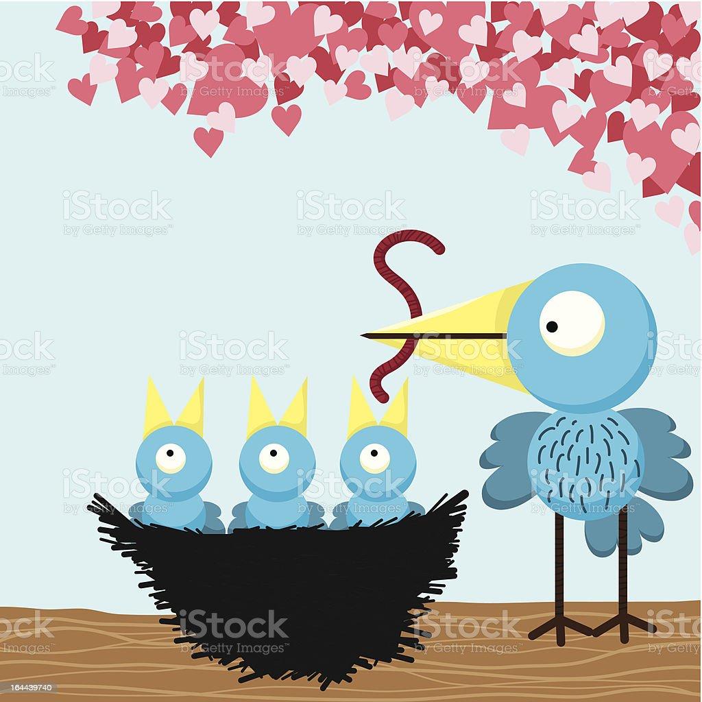 Loving mother Bird feeding royalty-free stock vector art