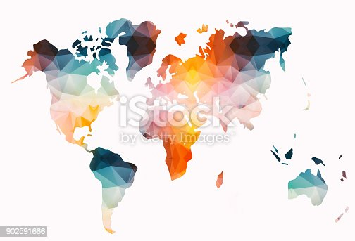 Low poly colorful world map on white background