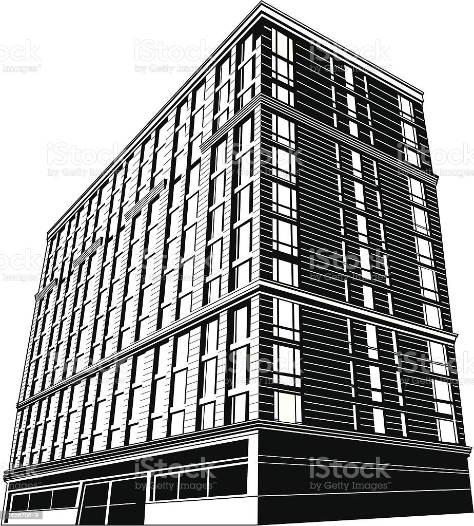 Low-angle view of an apartment building royalty-free stock vector art