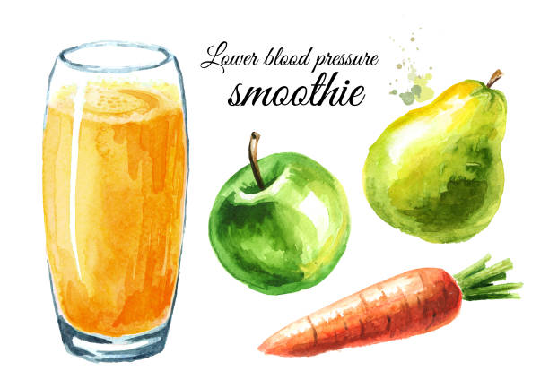 lower blood pressure smoothie with apple, pear and carrot set. watercolor hand drawn illustration, isolated on white background - vegetable blood stock illustrations, clip art, cartoons, & icons