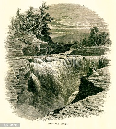 Lower Falls located in the Portage Canyon, U.S. state of New York. Published in Picturesque America or the Land We Live In (D. Appleton & Co., New York, 1872).