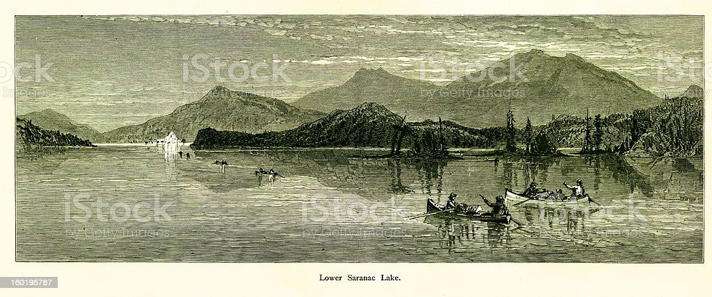 Lower Saranac Lake, New York vector art illustration