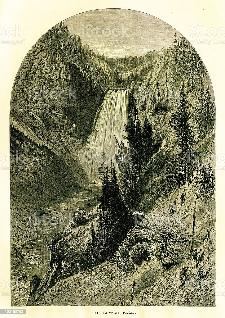 Lower Yellowstone Falls, USA royalty-free lower yellowstone falls usa stock vector art & more images of 19th century