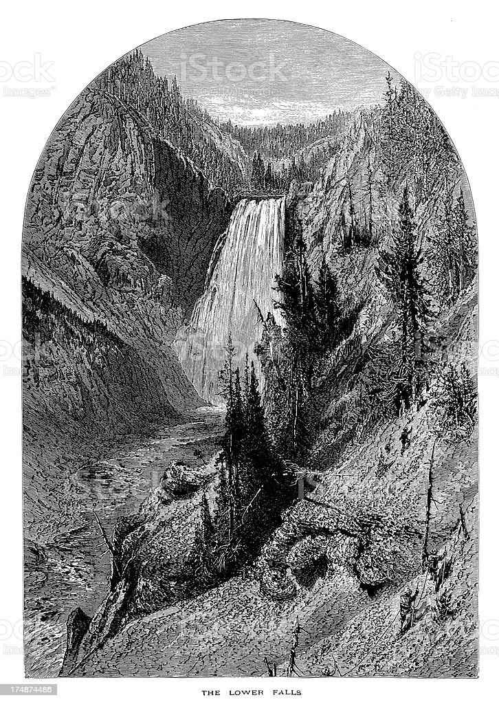 Lower Yellowstone Falls, USA royalty-free lower yellowstone falls usa stock vector art & more images of 19th century