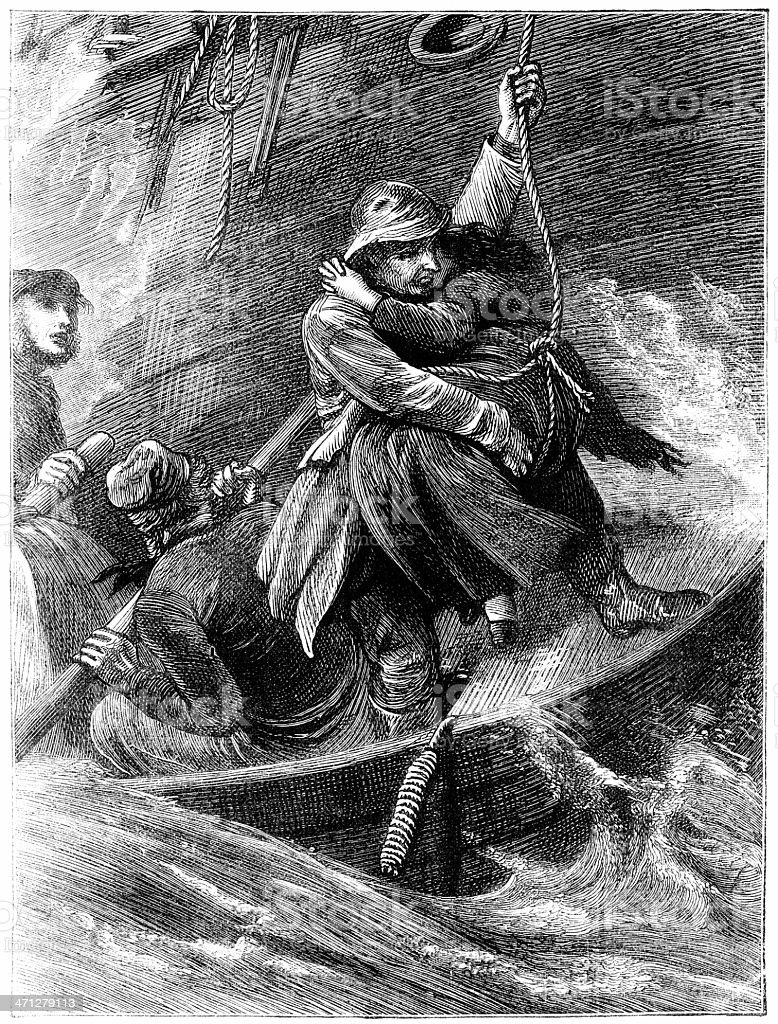 Lowering a woman from shipwreck to lifeboat (Victorian illustration) royalty-free lowering a woman from shipwreck to lifeboat stock vector art & more images of 19th century