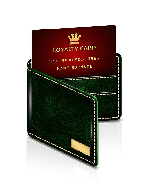 loyalty card in green wallet isolated over white - sale stock illustrations