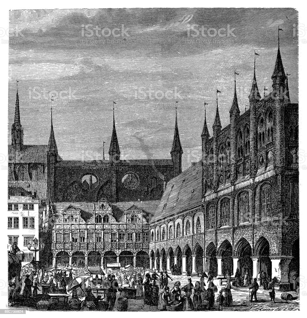 Lubeck, Germany, City Marketplace, Street View vector art illustration