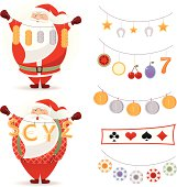Two lucky Santa with casino items. Christmas time. Vector.