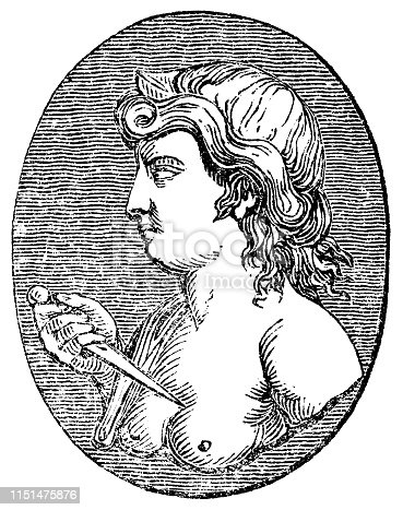 Lucretia (Lucrece) ancient Roman noblewoman from the Works of William Shakespeare. Vintage etching circa mid 19th century.