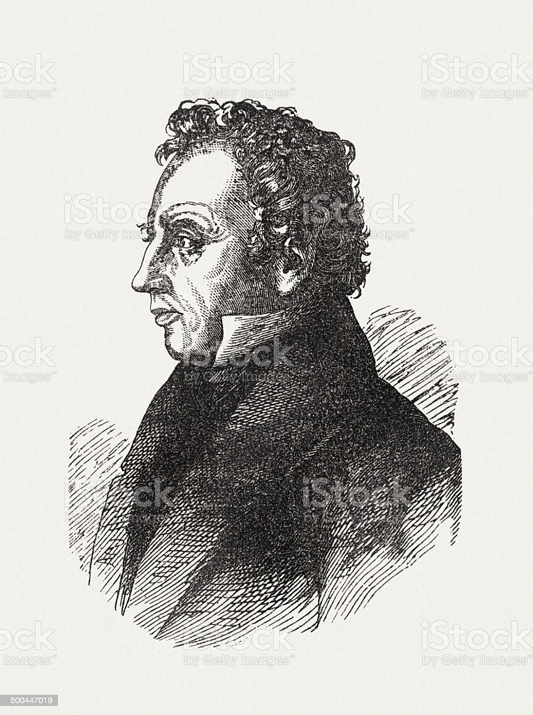 Ludwig Uhland (1787-1862), German poet, wood engraving, published in 1871 royalty-free stock vector art