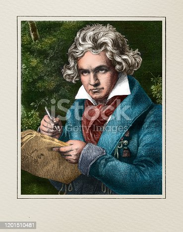istock Ludwig van Beethoven german composer and pianist illustration 1201510481
