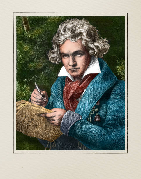 Ludwig van Beethoven german composer and pianist illustration vector art illustration