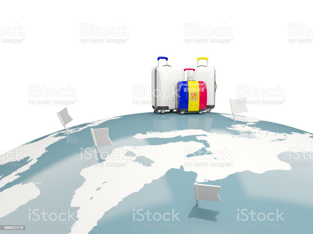Luggage with flag of andorra. Three bags on top of globe vector art illustration