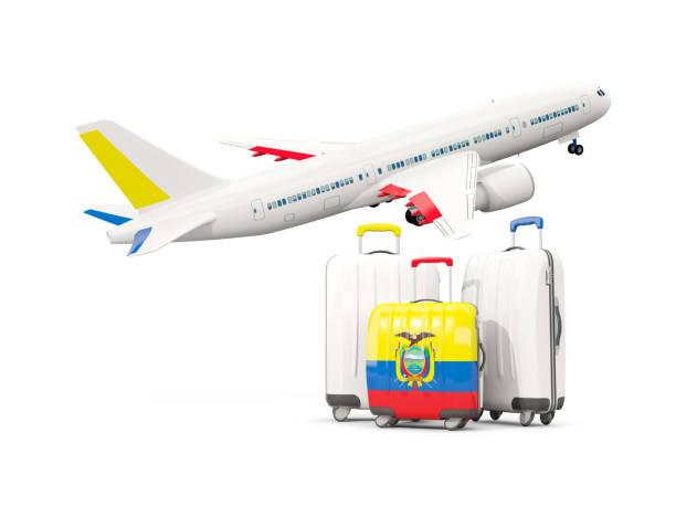 エクアドルの国旗と荷物。飛行機での 3 つの袋 ベクターアートイラスト