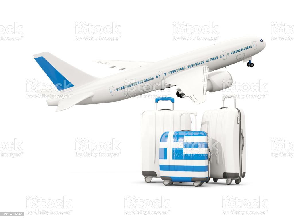 luggage with flag of greece three bags with airplane stock vector