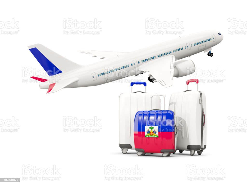 luggage with flag of haiti three bags with airplane stock vector art