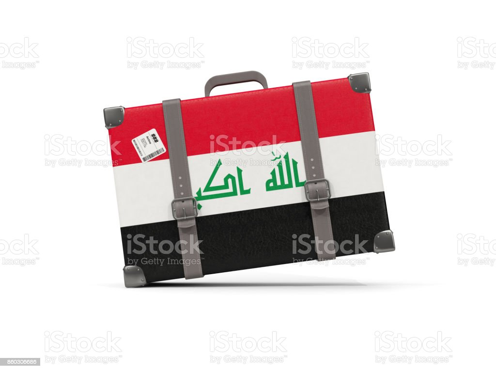 Luggage with flag of iraq. Suitcase isolated on white vector art illustration