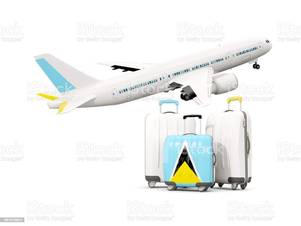 Luggage with flag of saint lucia. Three bags with airplane vector art illustration