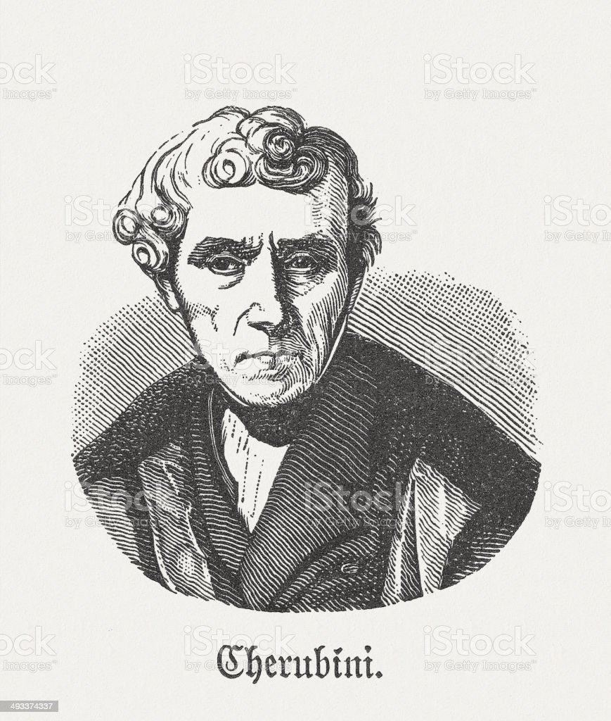 Luigi Cherubini (1760-1842), Italian composer, wood engraving, published in 1881 royalty-free stock vector art