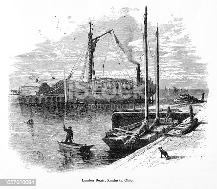 Very Rare, Beautifully Illustrated Antique Engraving of Lumber Boats, Sandusky, Ohio, United States, American Victorian Engraving, 1872. Source: Original edition from my own archives. Copyright has expired on this artwork. Digitally restored.