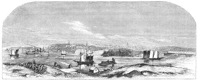 Lumber Port in Bangor, Penobscot County, Maine, United States of America (circa mid 19th century). Vintage etching circa mid 19th century.