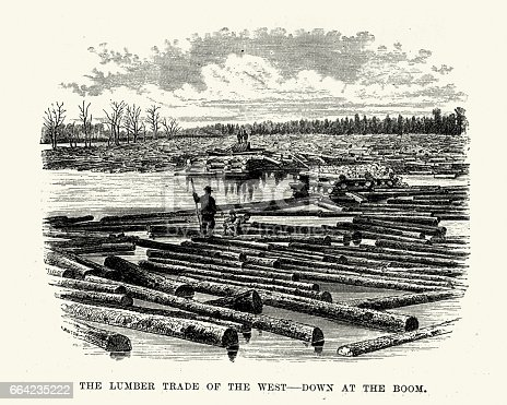 Vintage engraving of Lumber Trade of the West, Down at the boom, 19th Century