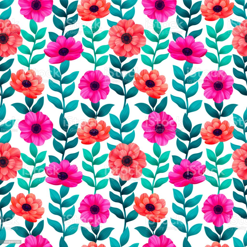 Luminous tropical seamless pattern with 3d style flowers and leaves on dark background. Trendy design for wallpapers textile screensavers wedding or greeting cards. digital illustration vector art illustration