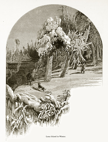 Luna Island in Winter, Niagara Falls, New York, Niagara Falls, Ontario, American Victorian Engraving, 1872