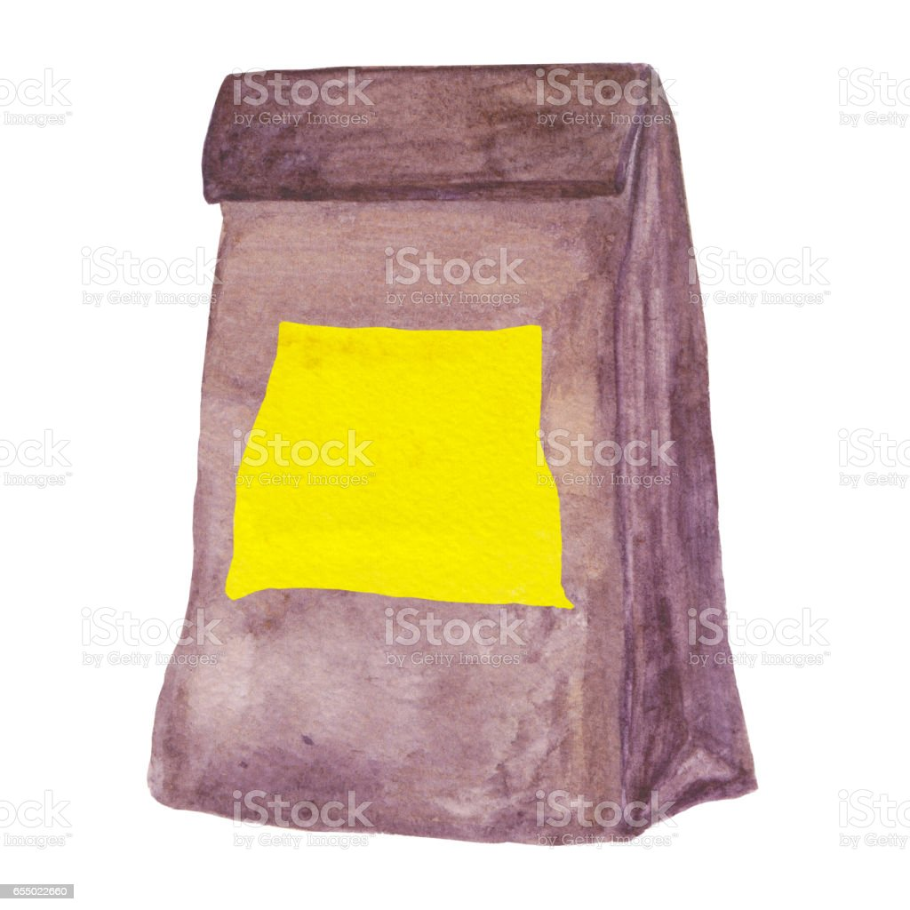 Lunch bag with yellow blank post-it not. Watercolor food package vector art illustration