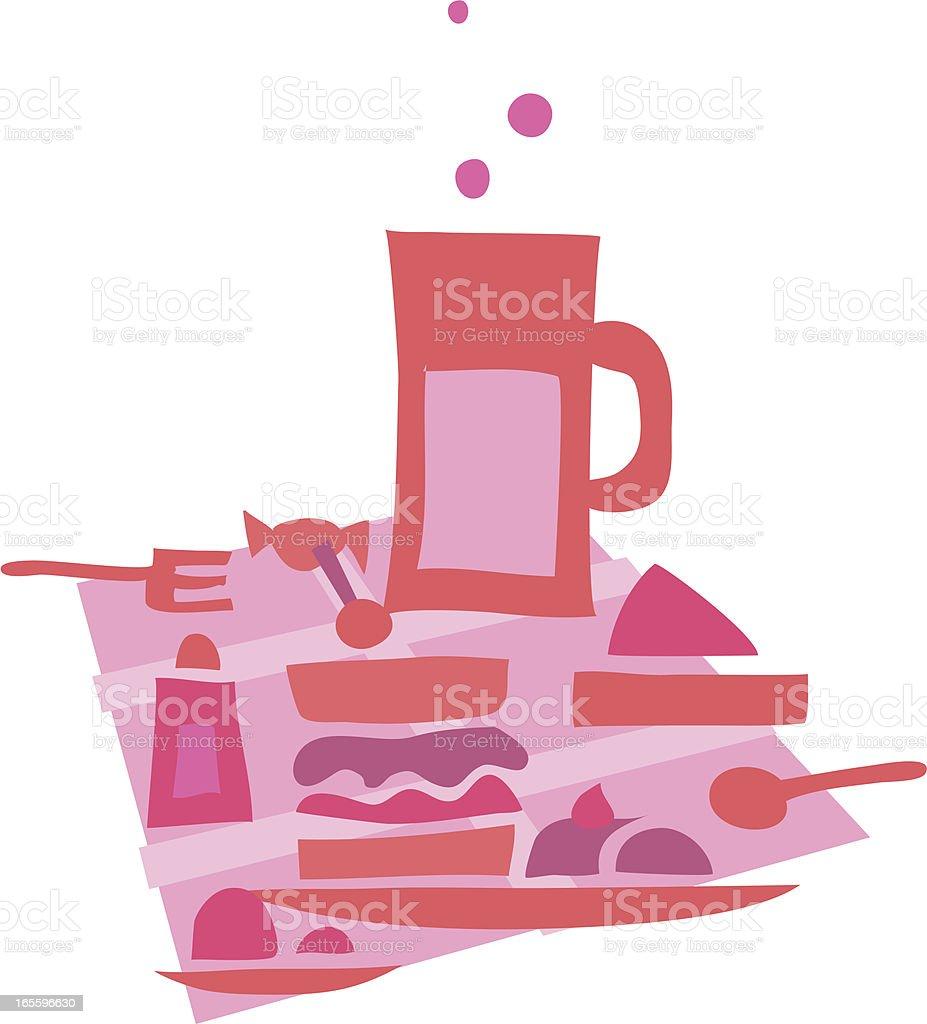 La hora del almuerzo 2 rosa ilustración de la hora del almuerzo 2 rosa y más banco de imágenes de alimento libre de derechos