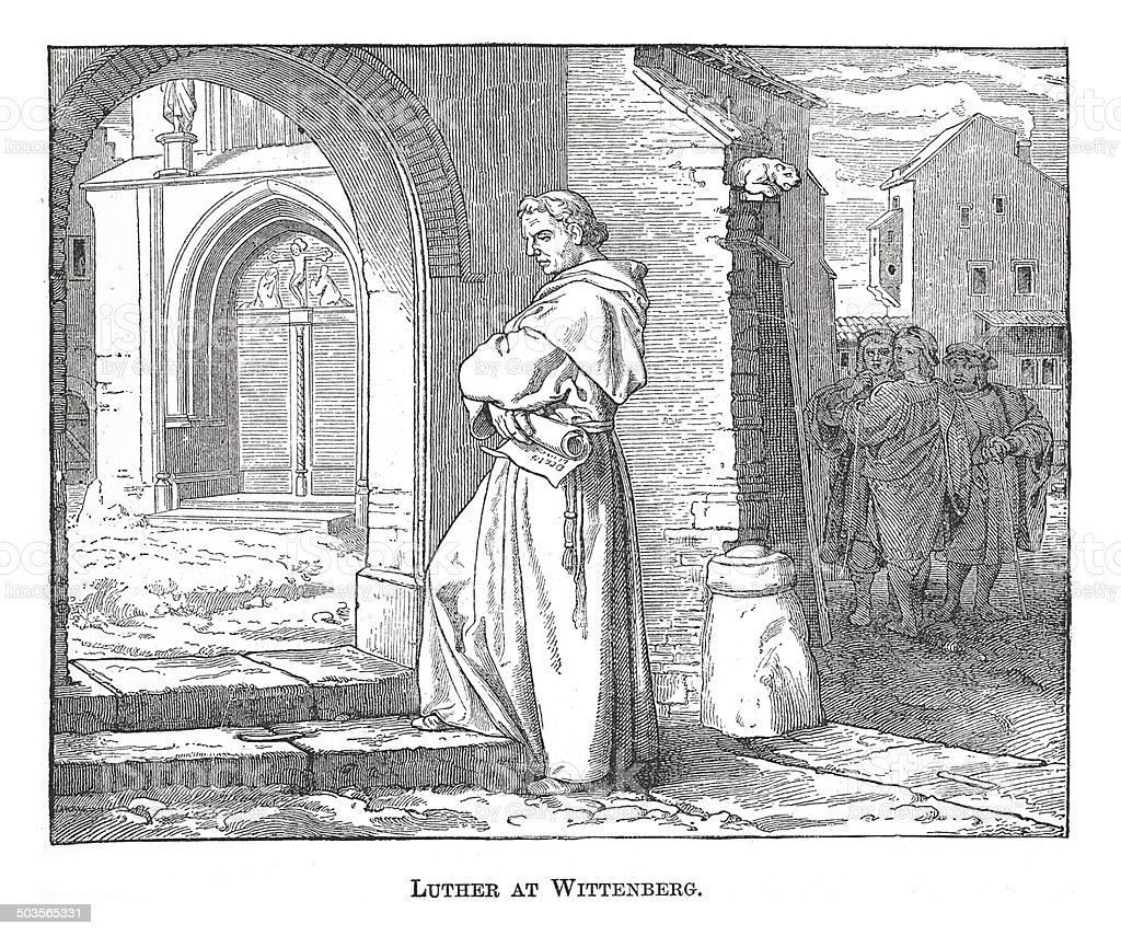 Luther at Wittenberg (antique engraving) royalty-free stock vector art