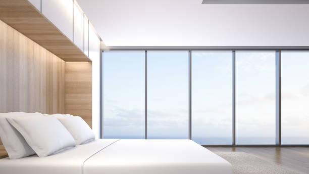 illustrations, cliparts, dessins animés et icônes de chambre de luxe avec vue sur la mer, rendu 3d - architecture intérieure beton