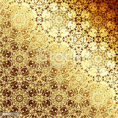 Golden oriental pattern, folk traditional elements. Royal gold texture for textile, wallpapers, advertisement, page fill, book covers etc. Boho-chic fabric background, metallic foil